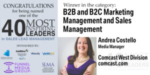 Congratulations to Andrea Costello, Named one of the 10 most inspiring leaders in B2B and B2C Marketing & Management.