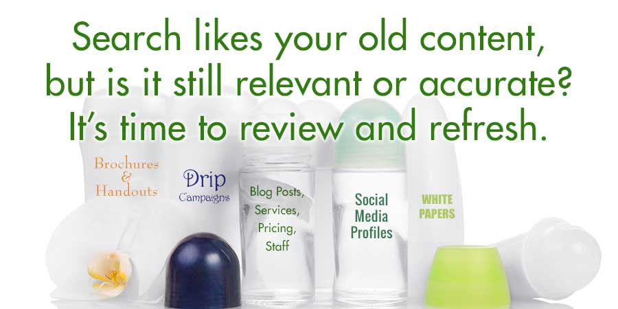 Time to review, refresh and recycle content that is still of value.