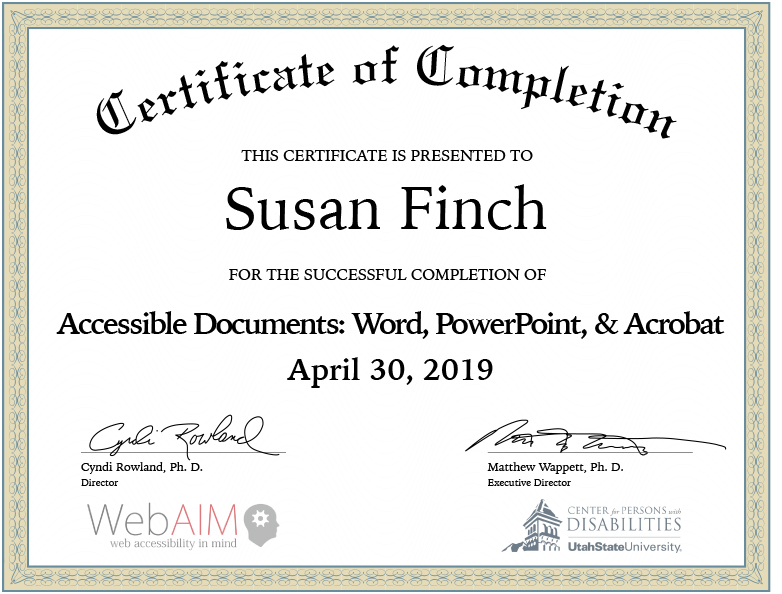 Certificate of complettion of WebAIM.org course on compliant documents