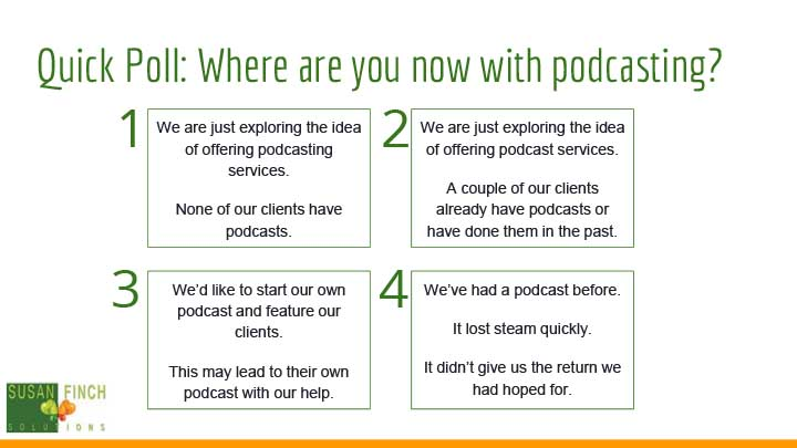 Where is your firm on podcasting?